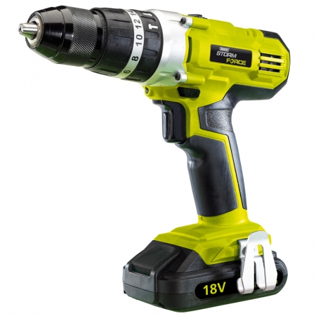 CORDLESS HAMMER DRILL WITH ONE 18V 1.5AH LI-ION BATTERY